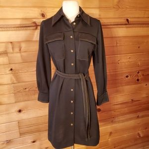 1960s Young Naturals Black Polyester Dress